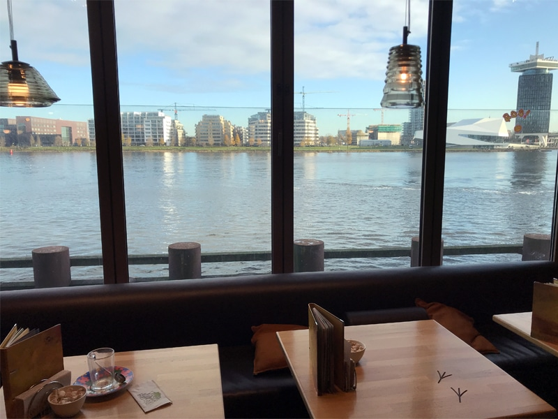 View Beans and Bagels cafe IJdok Amsterdam. What a view!