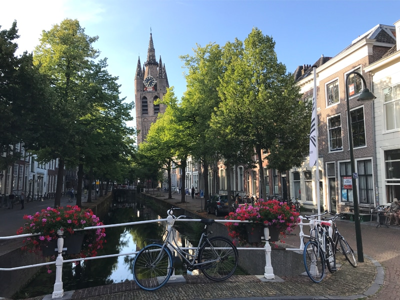 Delft Canal with Old Church in the background.