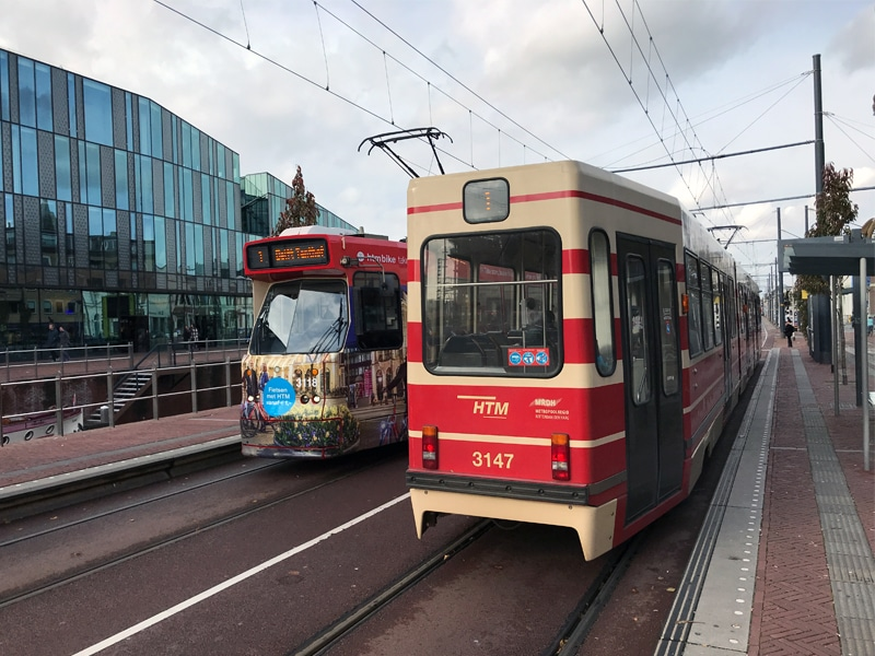 Trams from the HTM operating between Delft and The Hague.