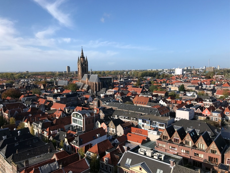 View from the 2nd level of the New Church tower towards the Old Church in Delft.