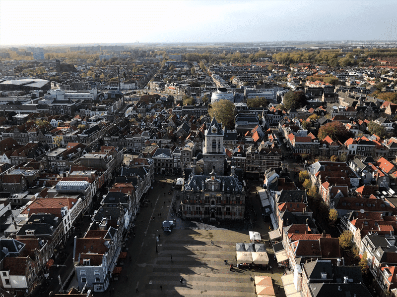View from the New Church Tower in Delft towards the Market Square.