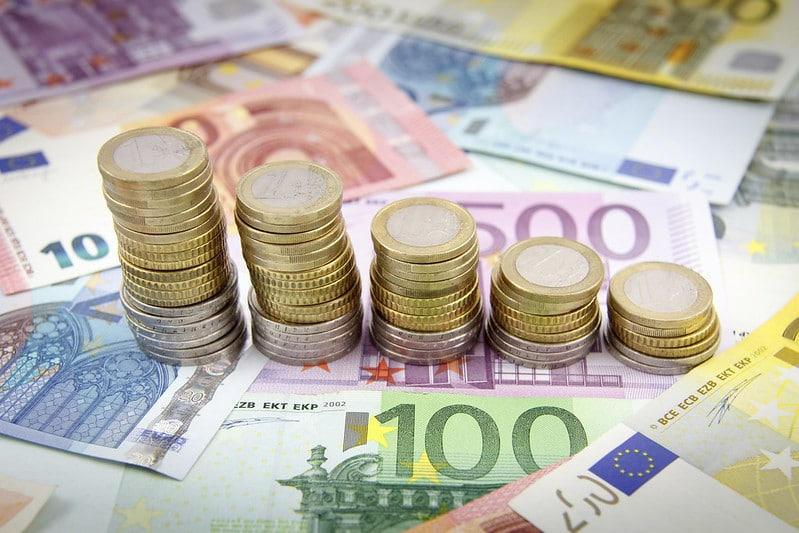 Euro banknotes and coins.