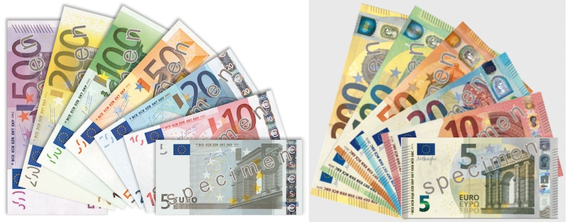 Euro banknotes both the old and the new versions.