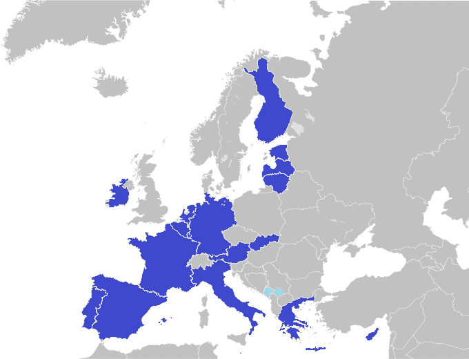 Map of countries that use the Euro.