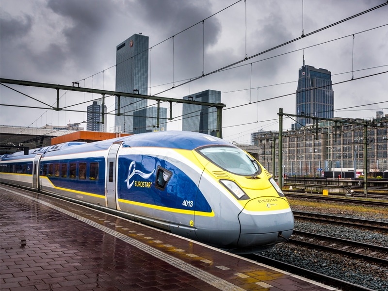 Eurostar High Speed Train at Rotterdam Central Station.