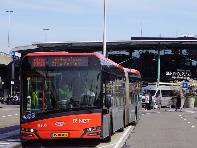 Amsterdam Airport Express Bus 397 departing from Schiphol Airport.