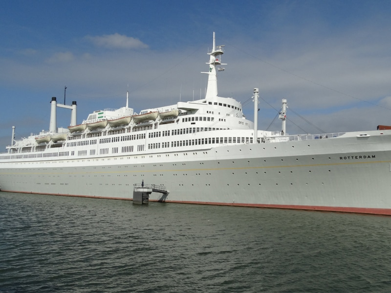 View on the SS Rotterdam ship from the water.