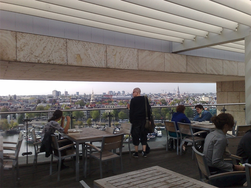 View from the Amsterdam Public Library cafe on the top floor.