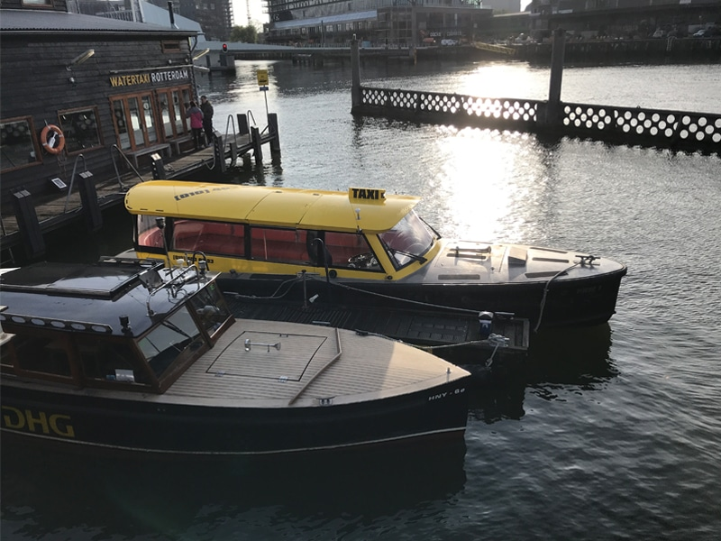Water Taxi Rotterdam in the dock. These connect many points of interest in the city at high speeds.