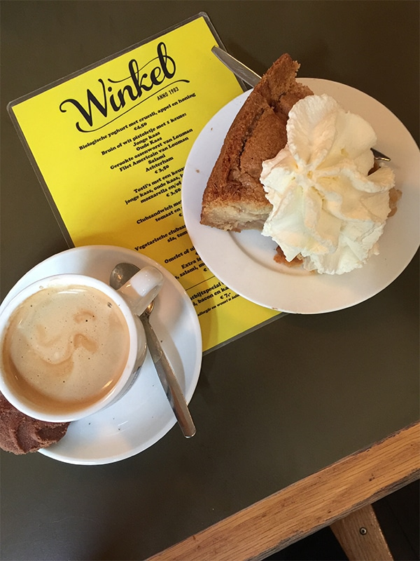 Apple Pie with Whipped Cream at Winkel 43 in Amsterdam at the Noordermarkt / Photographer: Kate Erickson