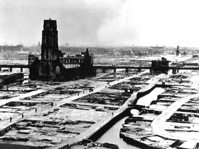 The German bombing Rotterdam city center on May 14th, 1940.